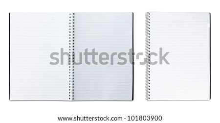 single and two page blank notebook on white background - stock photo