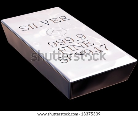 Single bar of pure silver isolated on a black background. - stock photo