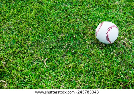 Single Baseball Ball on Grass Field (in Stadium or Local Field) Sport Concept and Idea / for background, wallpaper, texture. Standard Ball.