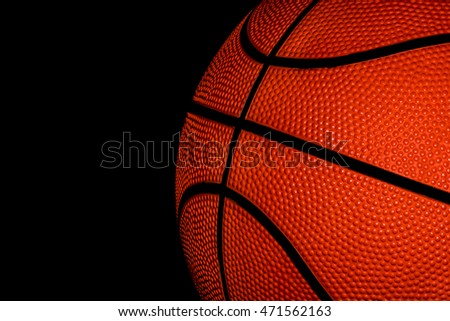 Single Basketball on a black background
