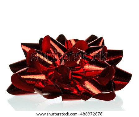 Single beautiful red bow isolated on white background