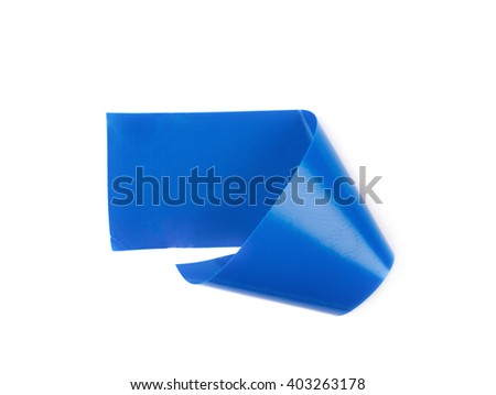 Single bent piece of insulating tape isolated over the white background - stock photo
