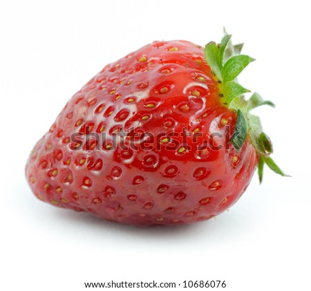 Single big strawberry isolated on white background