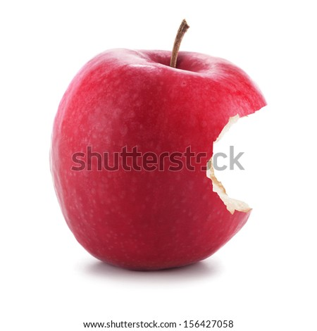 Single bitten red apple isolated on a white background - stock photo