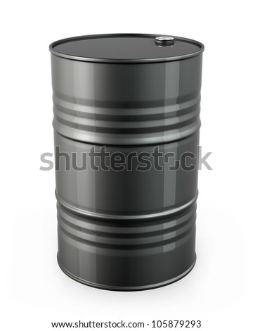 Single black barrel, isolated on white background