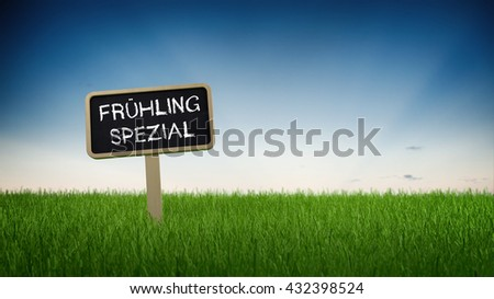 Single black chalkboard sign with white SPRING SPECIAL sale text in turf grass under clear blue sky background. German Language. 3d Rendering. - stock photo