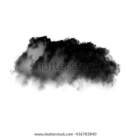 Single black cloud of smoke isolated over white background. Ink spot or cigarette smoke cloud, Rorschach test - stock photo