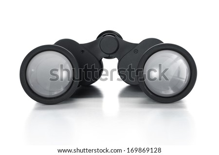 Single black pair of binoculars isolated on a white background. - stock photo