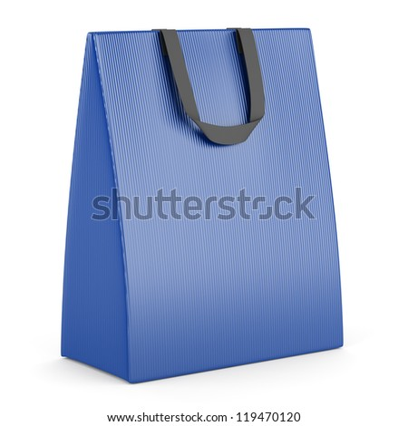 single blank blue shopping bag isolated on white background - stock photo
