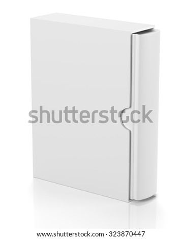 Single blank book in cardboard box cover isolated on white background
