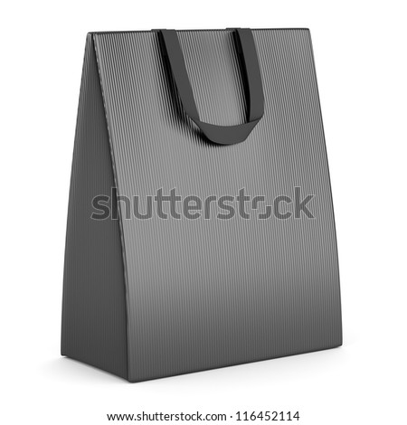 single blank gray shopping bag isolated on white background - stock photo