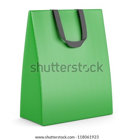 single blank green shopping bag isolated on white background