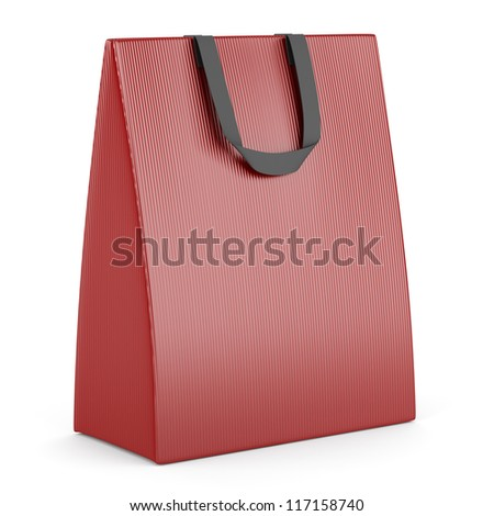 single blank red shopping bag isolated on white background - stock photo
