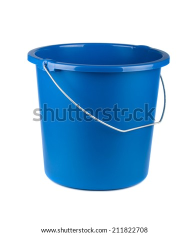 Single blue bucket isolated on a white background - stock photo