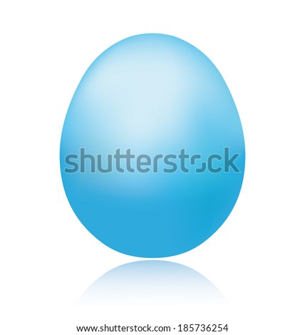 Single blue easter egg with reflection. - stock photo