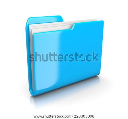 Single Blue File Folder on White Background 3D Illustration - stock photo