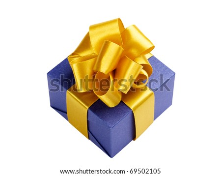 single blue gift box with gold ribbon and bow isolated on white - stock photo