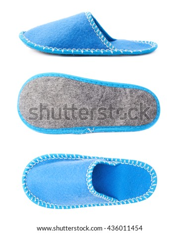Single blue house slipper isolated over white background