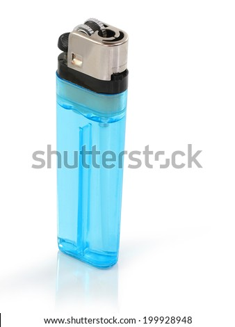 Single blue isolated lighter against the white background