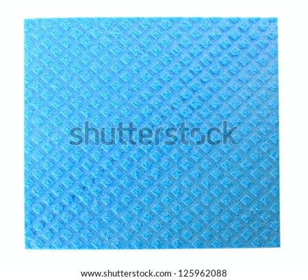 Single blue kitchen sponge isolated on the white background - stock photo