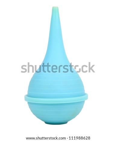 Single blue medical enema isolated on white - stock photo