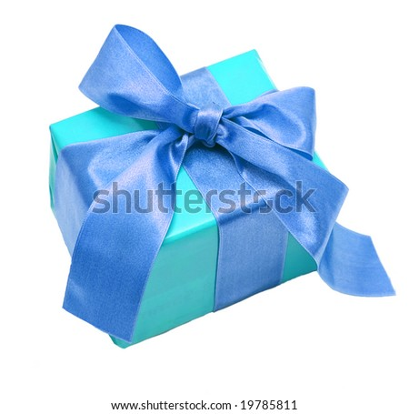 single blue present on a white background