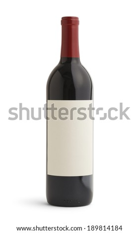 Single Bottle of Wine With Blank Label and Red Top. Isolated on White Background.