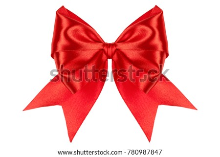 Single bow, made of red silk ribbon isolated of white background