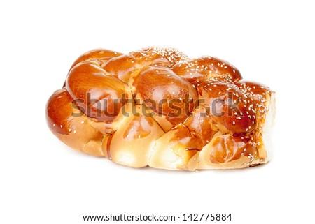 Single braided shabbat challah isolated on white background - stock photo
