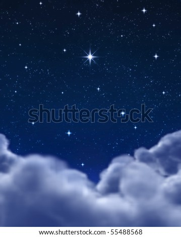 single bright wishing star in space or night sky