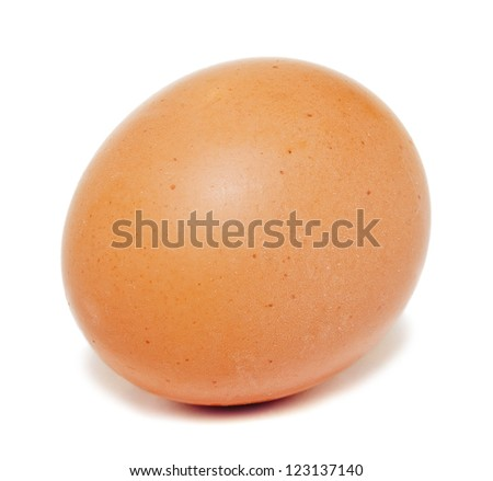 Single brown chicken egg isolated on white background - stock photo