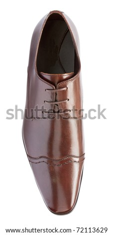 single brown formal leather shoe viewed from top - stock photo