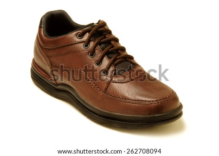 Single brown shoe isolated against white - stock photo