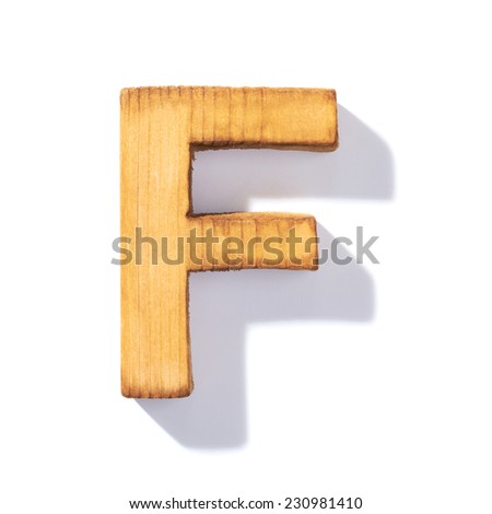 Single brown wooden F letter with 45 degree long shadow as a real life flat design font, isolated over the white background - stock photo
