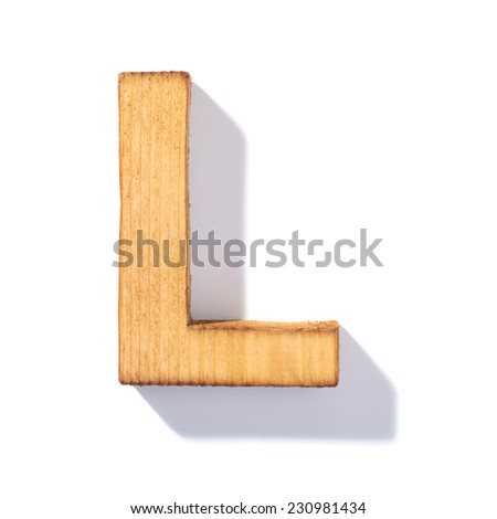 Single brown wooden L letter with 45 degree long shadow as a real life flat design font, isolated over the white background - stock photo