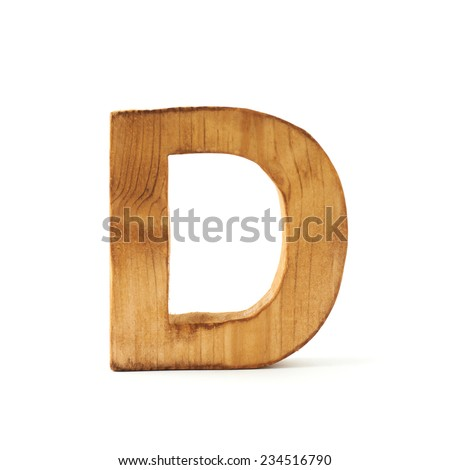 Single capital block wooden letter D isolated over the white background - stock photo