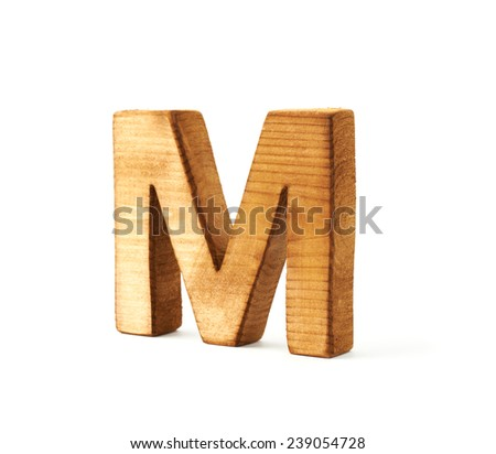 Single capital block wooden letter M isolated over the white background - stock photo