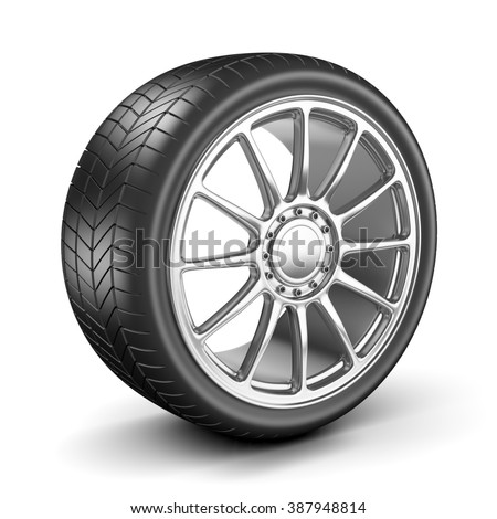Single Car Wheel Isolated on White Background 3D Illustration