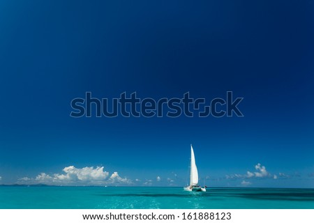 Single catamaran with tall white sail cruises in tropical waters in the British Virgin Islands