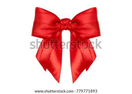 Single celebrate red ribbon with bow on white. Studio shot