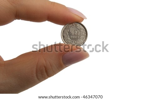 single centime hold between two fingers