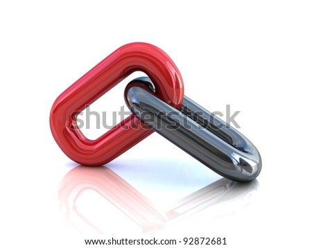 Single chain link over white - stock photo
