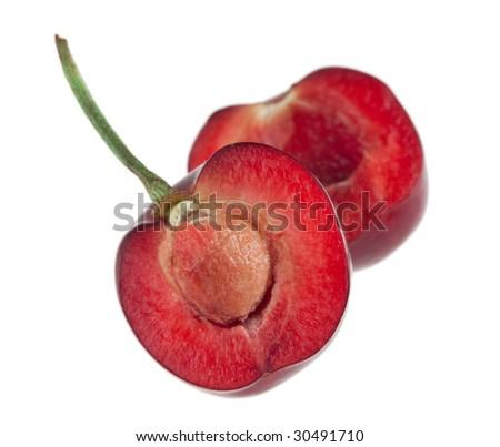 Single Cherry Cut in Half - stock photo