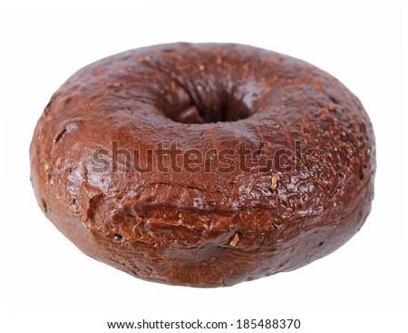 single chocolate bagel isolated on white background  - stock photo