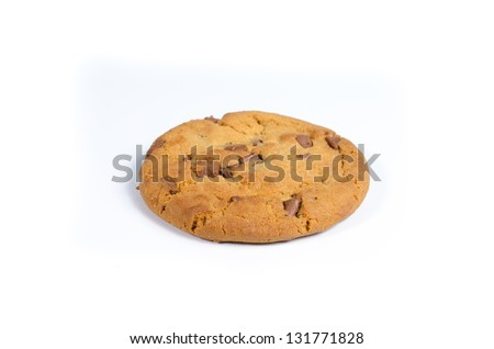 Single chocolate chip cookie on white background