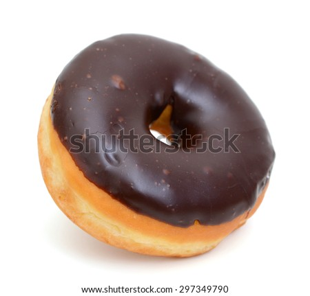 single chocolate donut on white background