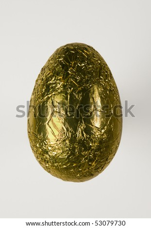single chocolate easter egg on white background