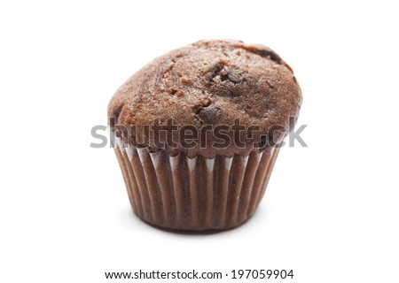 single chocolate muffin on white background - stock photo