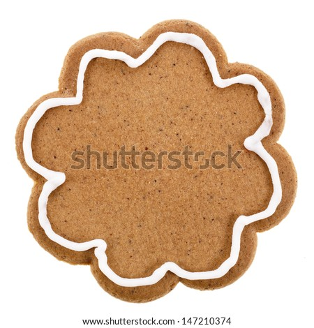 Single Christmas gingerbread cookie close up isolated on a white background  - stock photo