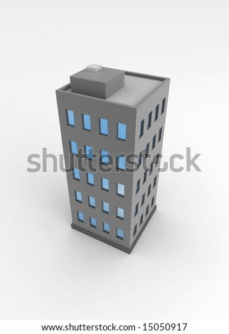 Single city building, 3d, isolated